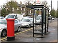 TQ2686 : Bus shelter at Whitestone Pond, NW3 by Mike Quinn