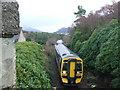 NG7932 : Kyle train from Plockton railway bridge by PETER PLUCKNETT