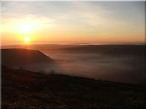 SE8493 : Sunset and fog over the Hole of Horcum by Nick Barker