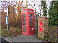 TM2570 : Bus Stop,Telephone Box & Brundish Crown Victorian Postbox by Adrian Cable