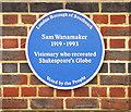 Photo of Sam Wanamaker blue plaque