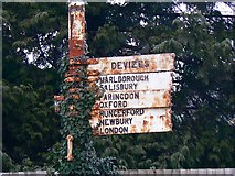 SU1585 : Close-up, road signs, County Road, Swindon by Brian Robert Marshall