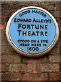 Photo of Fortune Theatre and Edward Alleyn blue plaque