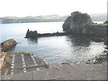 SH4094 : A small sheltered harbour on the north side of the Porth Wen sea arch by Eric Jones