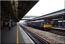 SX9193 : Barnstaple train, platform 2, St David's Station, Exeter by N Chadwick