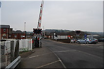 SX9193 : Level crossing, northern end of St David's Station by N Chadwick
