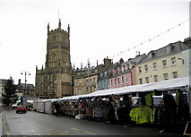 SP0202 : Friday market in the rain - Cirencester by Sarah Smith