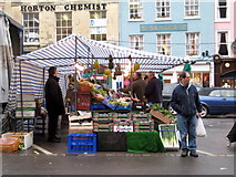 SP0202 : Market stall - Cirencester by Sarah Smith