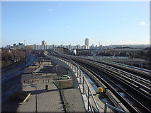 TQ4080 : Elevated railway line to the east of West Silvertown DLR station by Oxyman