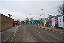 TQ3783 : Olympic 2012 boards, junction of Pudding Mill Lane & Barber's Lane by N Chadwick