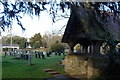 ST5290 : Lych gate and churchyard, St. Tewdric's, Mathern by Ruth Sharville
