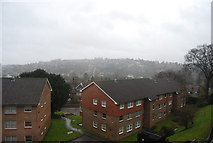 SU9948 : The view across Guildford, in the rain, from Rookwood Court (2) by N Chadwick