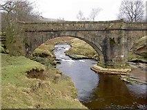SK1695 : An infant River Derwent passes under the packhorse bridge at Slippery Stones by Steve  Fareham