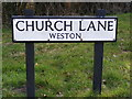 TM4287 : Church Lane, Weston Sign by Adrian Cable