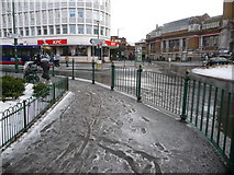 SZ0991 : Bournemouth: slushy pavements at the Lansdowne by Chris Downer