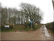 SX0249 : Lane junction near Lobb's Shop by Derek Harper