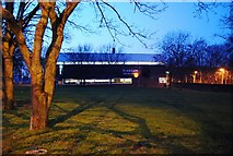 TQ7668 : Black Lion Leisure Centre, Gillingham, as darkness falls by N Chadwick