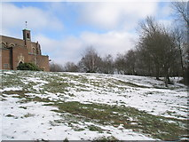 SU9849 : Looking back up Stag Hill towards Guildford Cathedral by Basher Eyre
