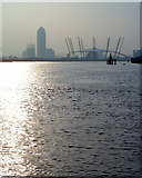 TQ3980 : The Dome and Docklands go up! by Stuart Vickers