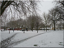 TL4658 : Snow on St Matthews Piece by Keith Edkins
