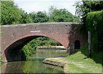 SK1705 : Birmingham and Fazeley Canal at Hopwas School Bridge, Staffordshire by Roger  Kidd
