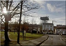SE5613 : The water tower dominates Askern by Steve  Fareham