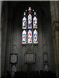 SU4829 : Stained glass window in the quire at Winchester Cathedral by Basher Eyre