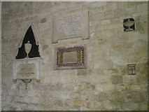 SU3521 : A variety of memorials on the south wall at Romsey Abbey by Basher Eyre