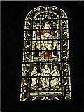 SU3521 : Intriguing stained glass window on the south wall at Romsey Abbey by Basher Eyre
