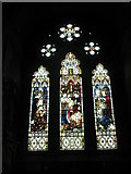 SU3521 : Stained glass window within the chapel dedicated to Mary at Romsey Abbey by Basher Eyre