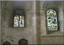 SU3521 : Stained glass windows within the north transept at Romsey Abbey by Basher Eyre