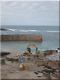 SW3526 : Preparing for the new lifeboat at Sennen Cove by Rod Allday