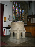 SD9772 : St Mary's Church, Kettlewell, Font by Alexander P Kapp