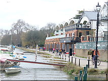 TQ1873 : Boathouses by Petersham Road by Colin Smith