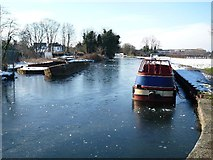 TQ1479 : A frozen Grand Union Canal near to the Three Bridges by J Taylor