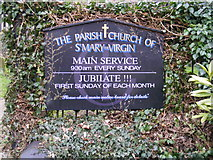 TM3877 : St.Mary the Virgin Church Sign, Halesworth by Adrian Cable