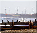 TA3821 : Out Newton Wind Turbines from Withernsea Beach by Andy Beecroft