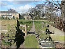 SE1321 : Path and stile near Boothroyd, Rastrick by Humphrey Bolton