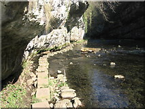 SK1272 : Stepping stone footpath under cliffs in Chee Dale by Chris Wimbush