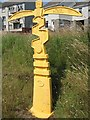 NS7765 : Millennium milepost, Drumgelloch Station by Richard Webb