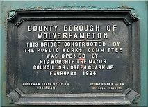 SO9199 : Cannock Road Bridge plaque, Wolverhampton by Roger  Kidd