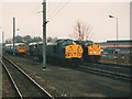 NY4055 : Trains in the sidings south of Carlisle station by Stephen Craven