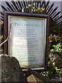NU1241 : Plaque re Celtic Cross, Gospel Gardens, Holy Island by Christine Matthews