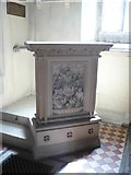 TQ9258 : Unusual stone pulpit in the church of St. Catherine, Kingsdown by pam fray