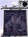 SO9841 : The reverse of the sign for the 'Elizabeth Queen of England' Public House by Geoffery E Williams
