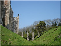 TM2863 : The dry moat at Framlingham castle by Oxymoron
