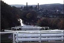 SE1039 : Bingley from the five-rise locks, 1974 by M J Richardson