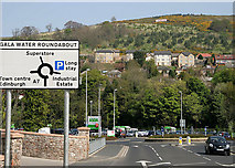 NT4935 : A road sign on Gala Water Bridge by Walter Baxter
