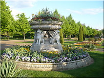 TQ2882 : Flower bed and planter in the Italianate garden in Regent's Park by pam fray