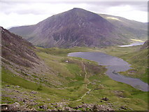 SH6459 : Llyn Idwal from below the Devil's Kitchen by Kenneth Yarham